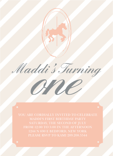 Carousel First Birthday Invitations