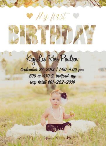 Elegant Photo First Birthday Invitations
