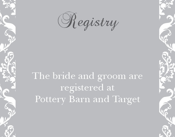 The Damask Sides Registry Cards