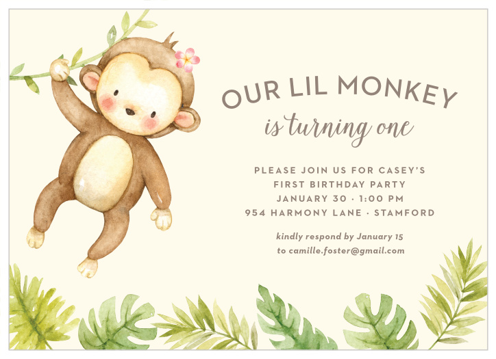 Marvelous Monkey Birthday Invitations Match Your Color Style Free Interior Design Ideas Lukepblogthenellocom