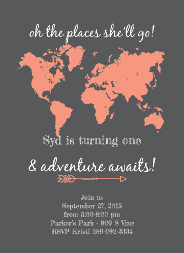 The Places Youll Go First Birthday Invitations