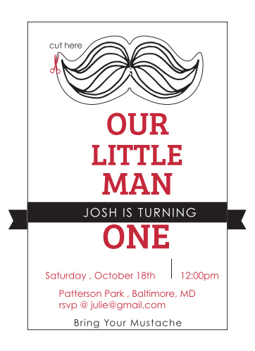 Mustache Birthday Invitations Match Your Color Style Free