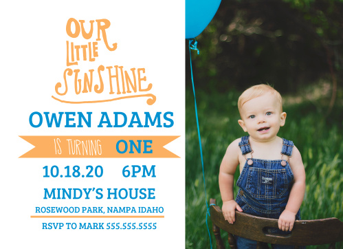 Our Little Sunshine First Birthday Invitations
