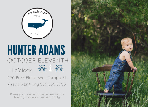 Tiny Whale First Birthday Invitations