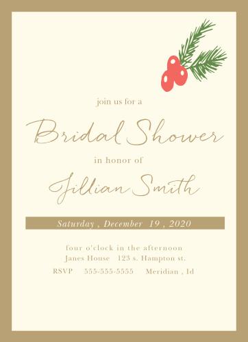 holly bridal shower invitations