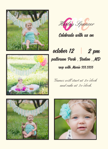 Cutely Surrounded First Birthday Invitations