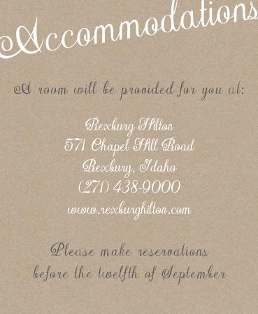 The Elegant Kraft Accommodation Cards