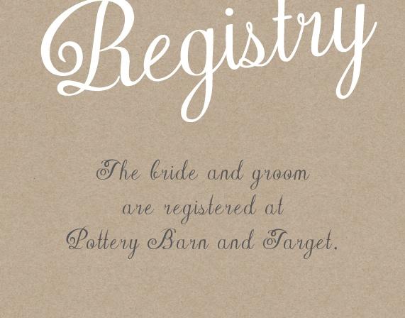 The Elegant Kraft Registry Cards