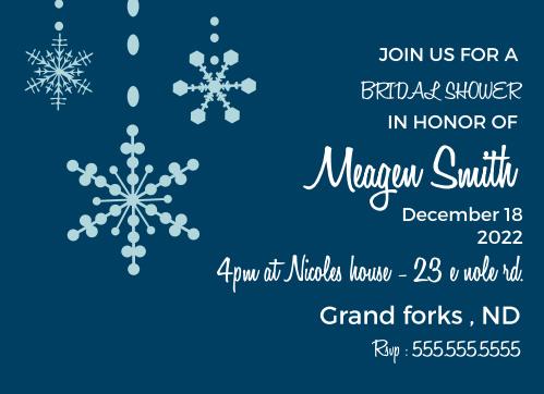 falling snow bridal shower invitations
