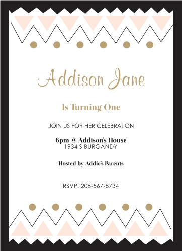 Tribal Frame First Birthday Invitations