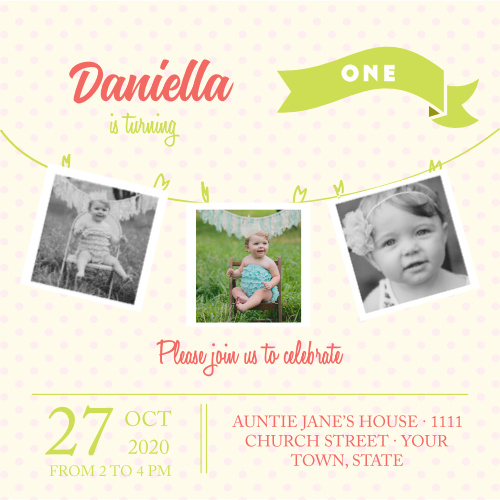 Photo Clothes Line First Birthday Invitations