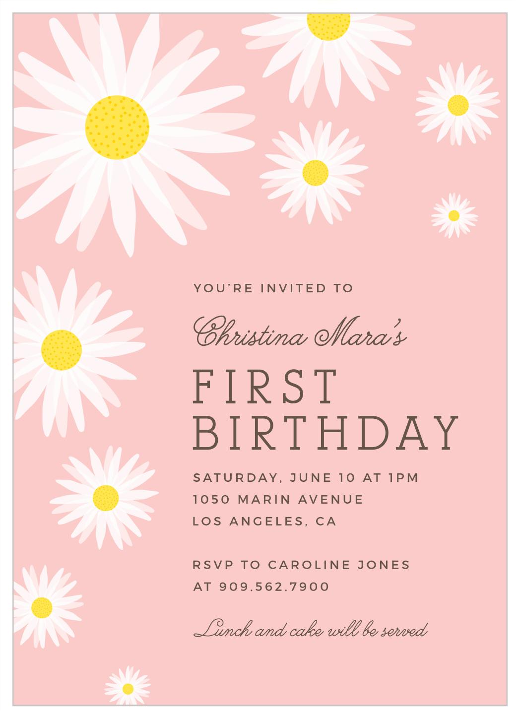 Flower Title First Birthday Invitations