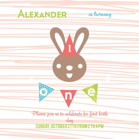 Baby Bunny First Birthday Invitations