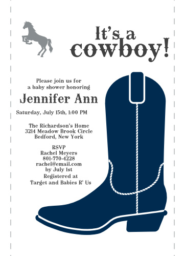 Western Baby Shower Invitations Match Your Color Style Free