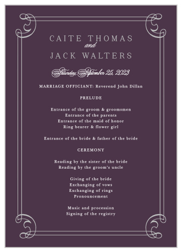Victorian Wedding Programs - Match Your Color & Style Free!