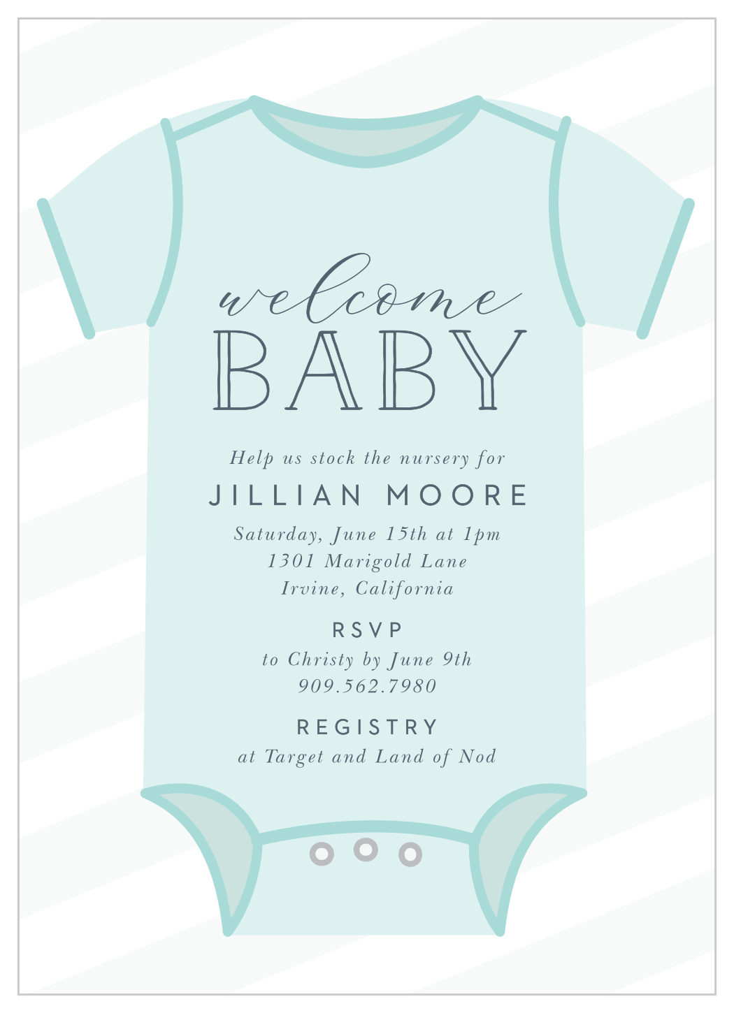 Onesie Welcome Baby Shower Invitations