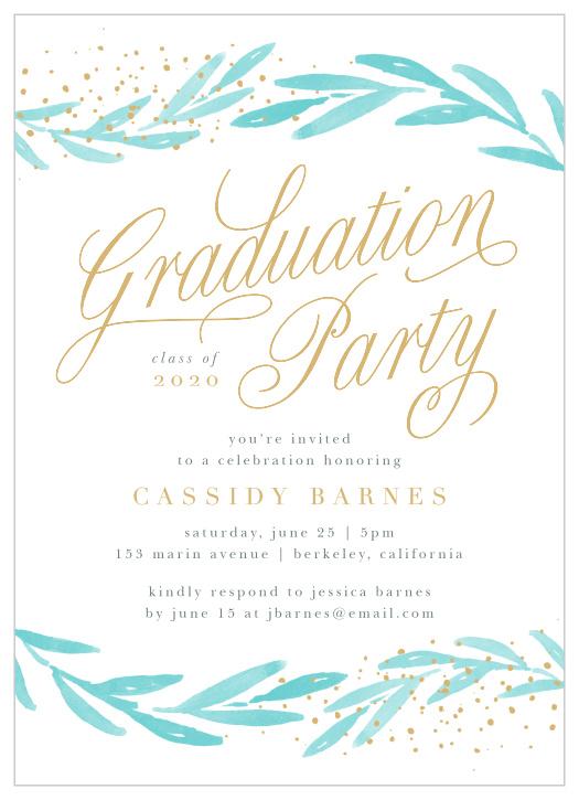 25 Invitations Blue Graduation School Colors Invite Cards Celebrate Party