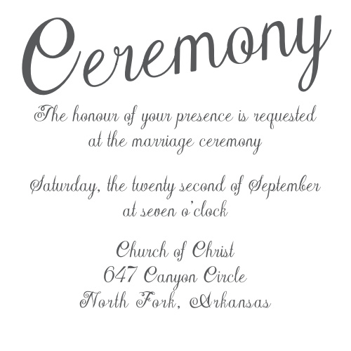 Plain Elegance Ceremony Cards