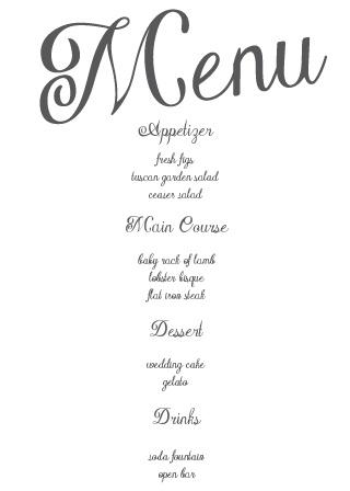 Plain Elegance Wedding Menu