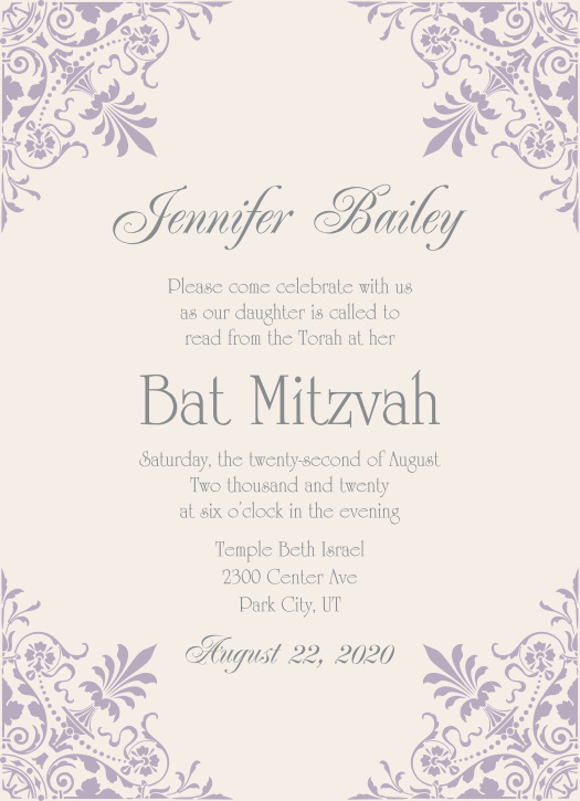 bat mitzvah invitations match your colors style free basic invite