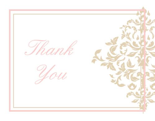 Elegant Damask Graduation Thank You Cards