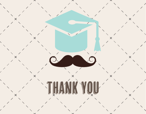 Mustache Cap Graduation Thank You Cards