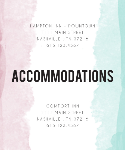 Watercolor Dip Accommodation Cards