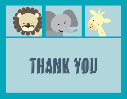 Animal Frame Baby Shower Thank You Cards