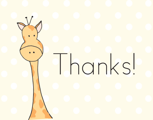 Peeping Giraffe Baby Shower Thank You Cards