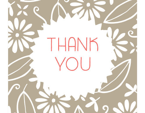 Floral Sticker Thank You Cards