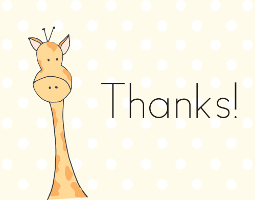 Toy Giraffe Thank You Cards