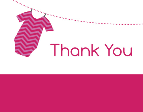 Girl Onesie Clothesline Thank You Cards