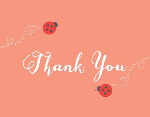 Sweet Ladybug Thank You Cards