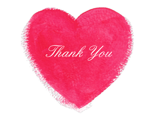 Watercolor Heart Thank You Cards