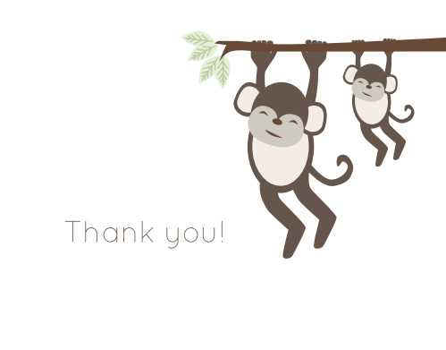 Monkey Tree Baby Shower Thank You Cards