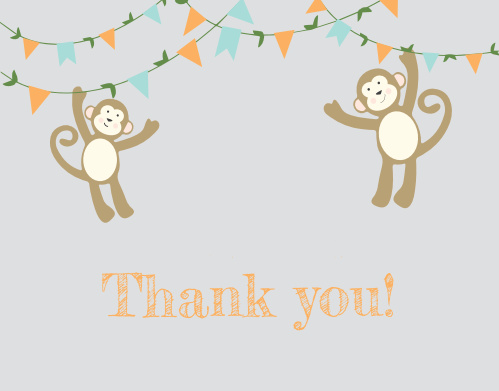 Monkey'n Around Baby Shower Thank You Cards