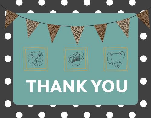 Framed Safari Baby Shower Thank You Cards