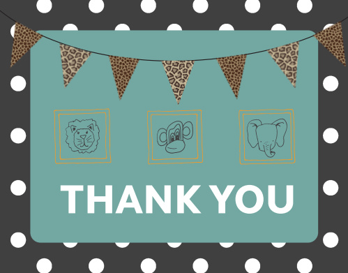 Framed Safari Baby Shower Thank You Cards