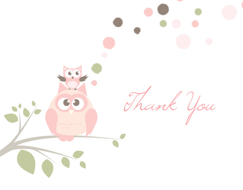 Owl Balloon Baby Shower Thank You Cards