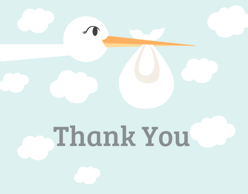 Stork Delivery Baby Shower Thank You Cards