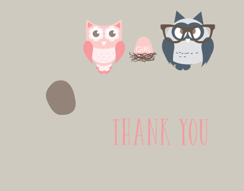 Owl Parents Girl Baby Shower Thank You Cards