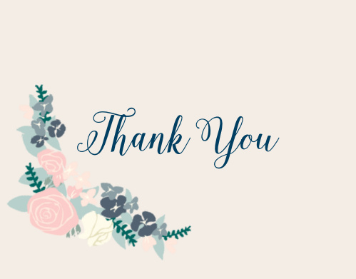 Illustrated Corner Wreath Thank You Card