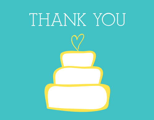 Wedding Cake Bridal Shower Thank You Cards