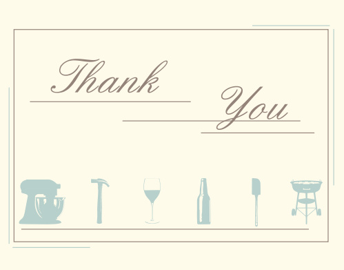 Him & Her Bridal Shower Thank You Cards
