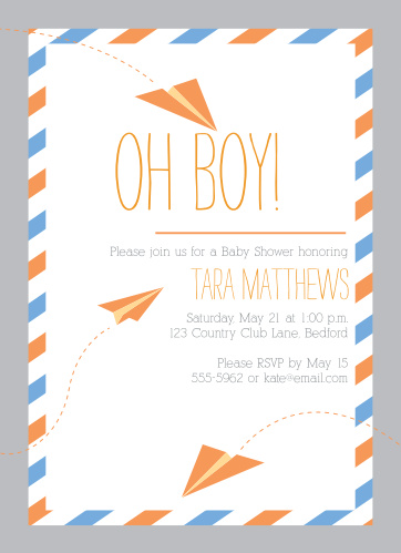 Paper Airplanes Baby Shower Invitations