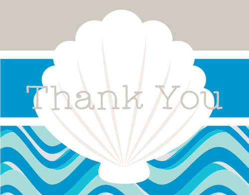 Sea Shell Bridal Shower Thank You Cards
