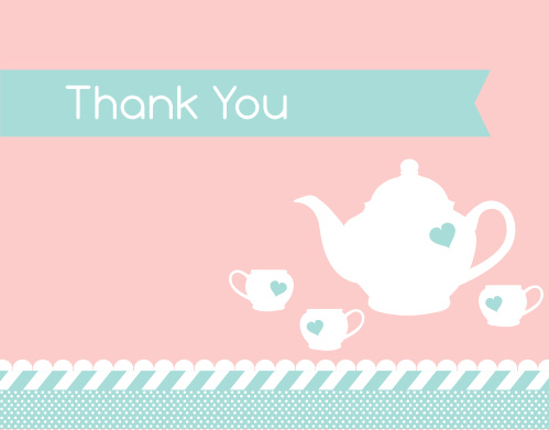 Tea Set Bridal Shower Thank You Cards