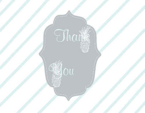 Tropical Pineapple Bridal Shower Thank You Cards