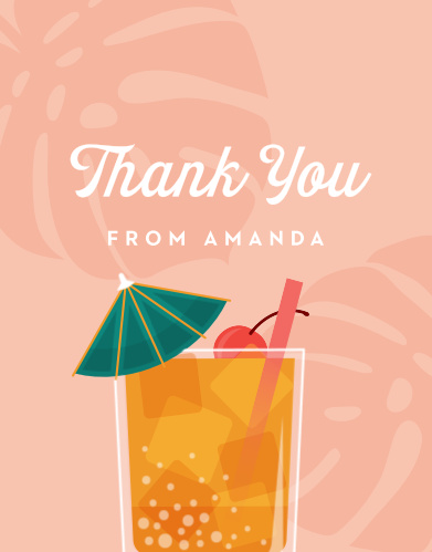 Tropical Drink Bridal Shower Thank You Cards