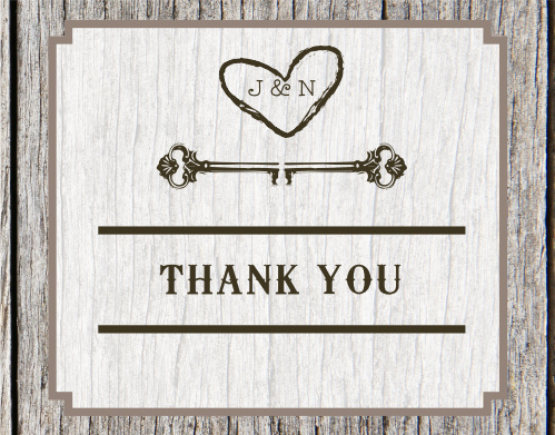 Carved Wood Bridal Shower Thank You Cards